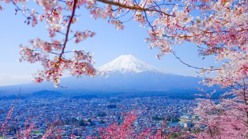 MT Fuji met Cherry Blossom (Sakura) in de Lente, Fujiyoshida, Ja royalty-vrije stock afbeelding