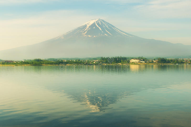 Mt. fuji in morning at kawaguchi, Japan stock photos