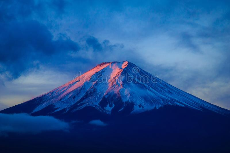 Mt. Fuji. Glows in the morning sun royalty free stock photo