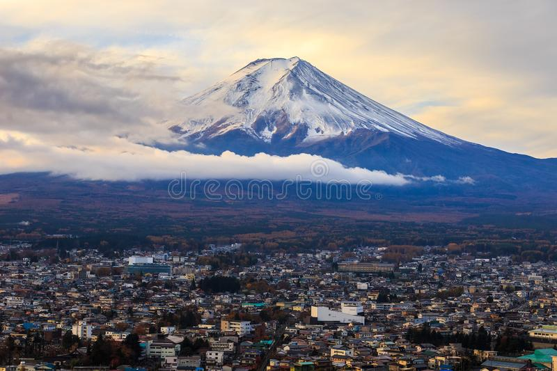 Mt. Fuji. Glows in the morning sun stock photo