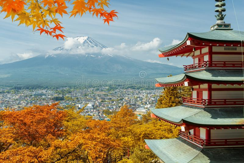 Mt. Fuji and red pagoda with autumn colors in Japan, Japan aut stock photography