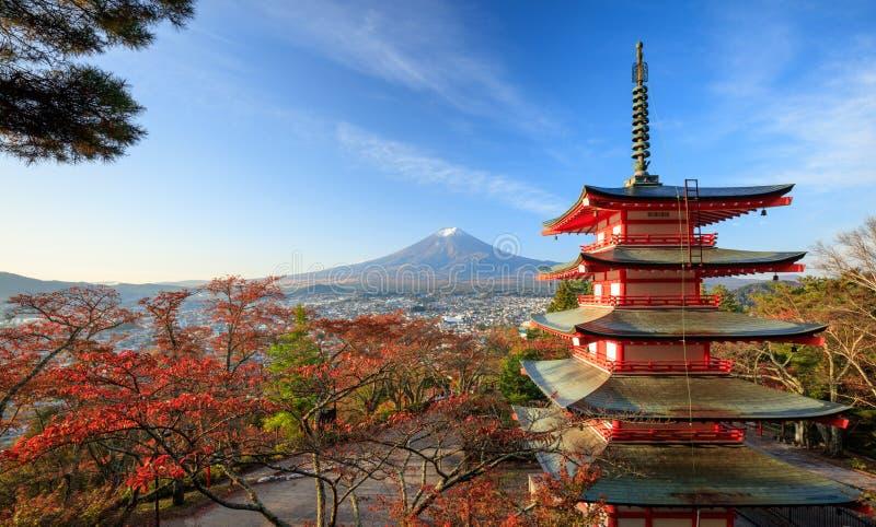 Mt. Fuji with red pagoda at sunrise, Japan. Mt. Fuji with red pagoda at sunrise in autumn, Japan royalty free stock image