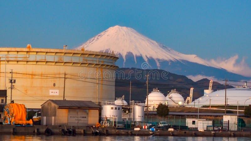Mt. Fuji from Shizuoka, Japan. Mt. Fuji on Dream Ferry Mini Cruise traveling from Hamanako Lake, Shizuoka, Japan with sunset sky, seagull bird flying and royalty free stock images
