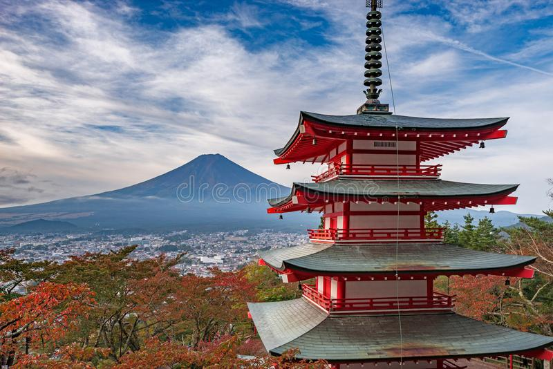 Mt. Fuji without snowcap with Chureito Pagoda on foreground at daytime in summer stock photography