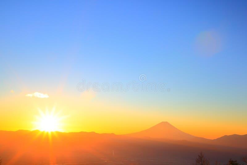 Mt. Fuji with sunrise. From Mt. Amari, Yamanashi, Japan royalty free stock photography