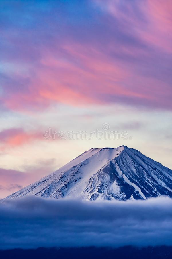 Mt.Fuji Sunrise. Mt.Fuji beautiful dawn sunrise in Kawaguchiko Fujiyoshida town stock images