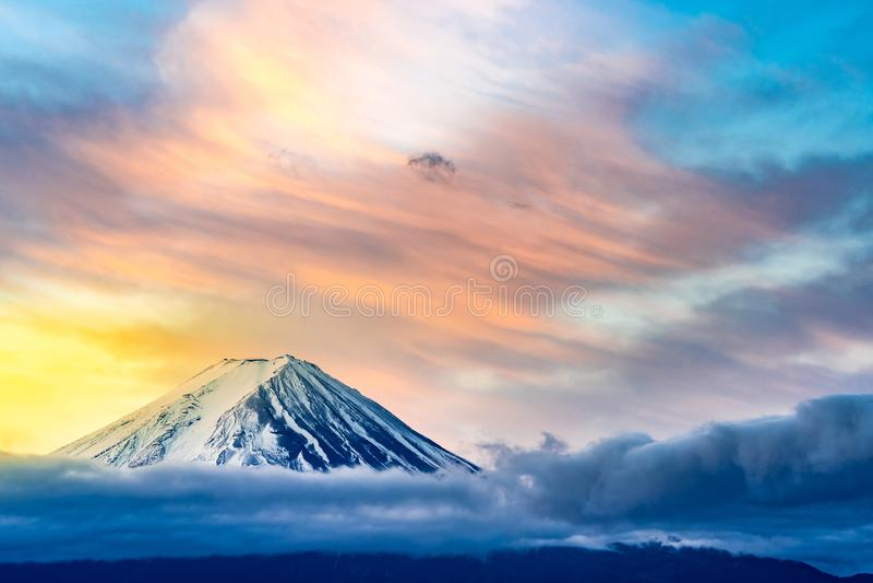 Mt.Fuji Sunrise. Mt.Fuji beautiful dawn sunrise in Kawaguchiko Fujiyoshida town royalty free stock photo