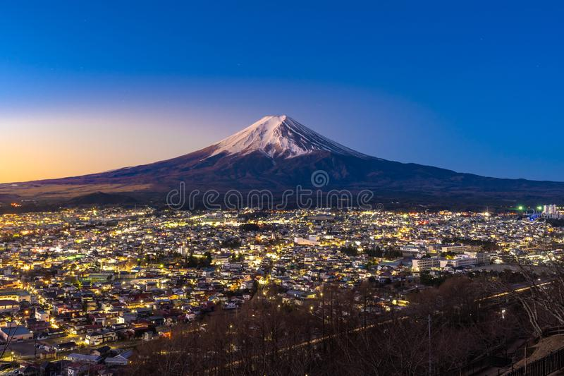 Mt.Fuji Sunrise. Mt.Fuji and Fujiyoshida town sunrise royalty free stock image