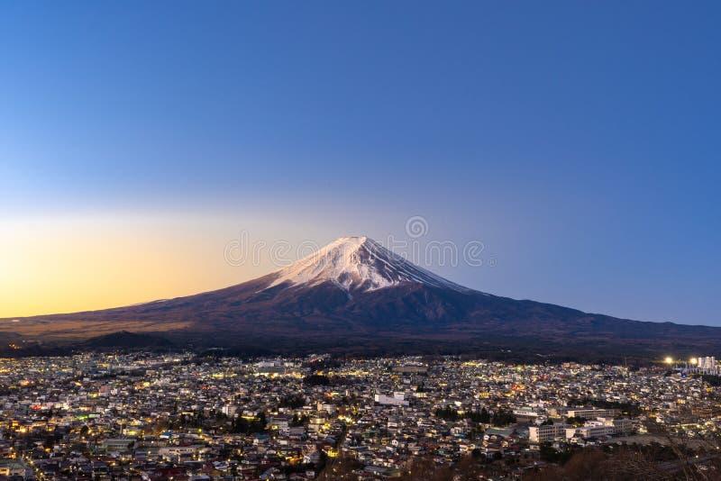 Mt.Fuji Sunrise. Mt.Fuji and Fujiyoshida town sunrise stock photography