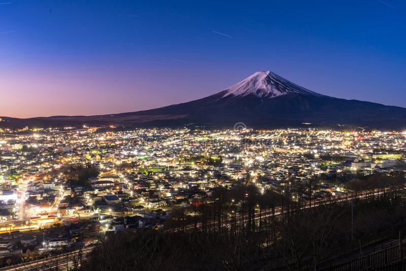 Mt.Fuji Sunrise. Mt.Fuji and Fujiyoshida town sunrise stock photo