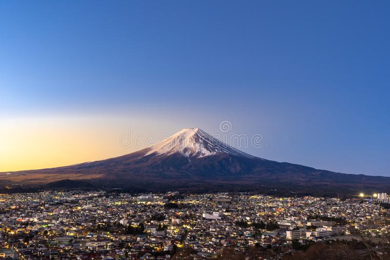 Mt.Fuji Sunrise. Mt.Fuji and Fujiyoshida town sunrise royalty free stock photography