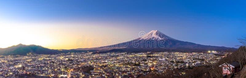 Mt.Fuji Sunrise. Mt.Fuji and Fujiyoshida town sunrise panorama royalty free stock photos
