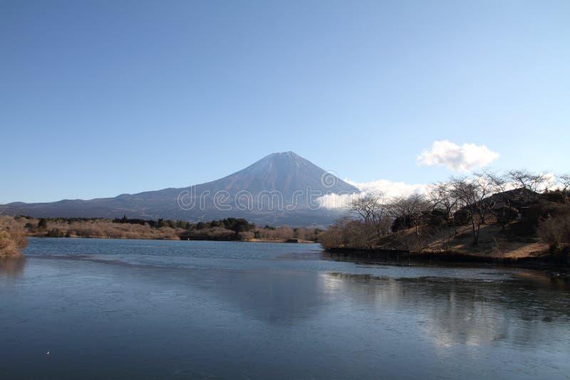 Mt. Fuji from Tanuki lake. In Japan royalty free stock image