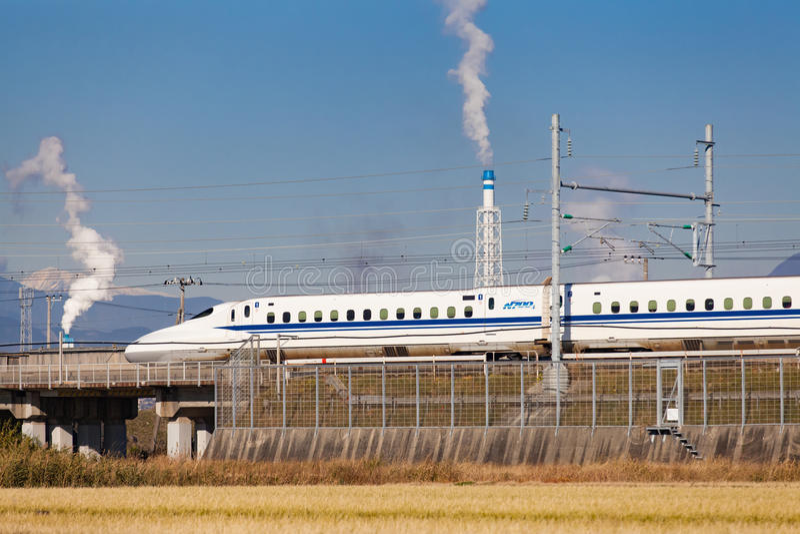Mt Fuji and Tokaido Shinkansen, Shizuoka, Japan royalty free stock photography