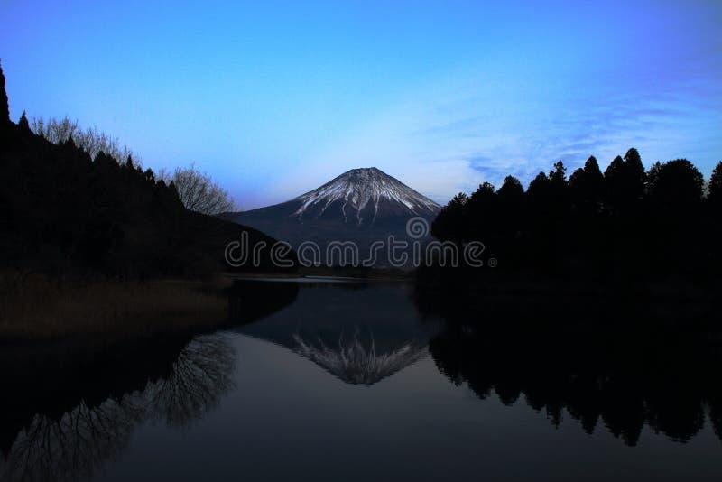 Mt. Fuji, view from Tanuki lake night scene. Mt. Fuji, view from Tanuki lake, Shizuoka, Japan night scene stock photo