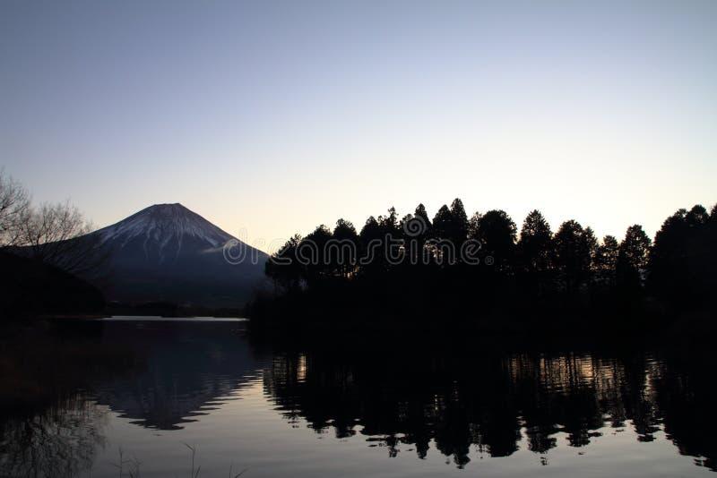 Mt. Fuji, view from Tanuki lake before dawn. Mt. Fuji, view from Tanuki lake, Shizuoka, Japan before dawn stock images