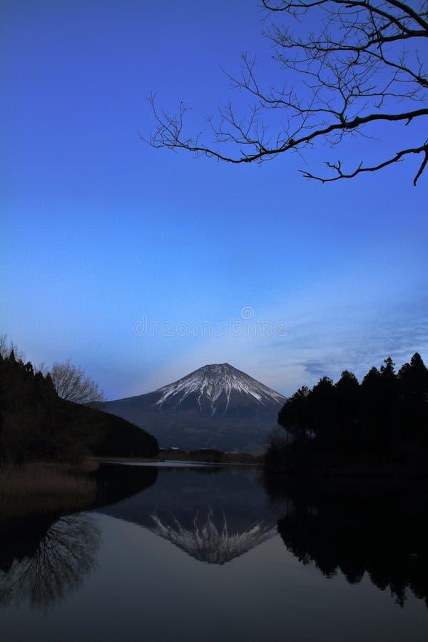 Mt. Fuji, view from Tanuki lake night scene. Mt. Fuji, view from Tanuki lake, Shizuoka, Japan night scene royalty free stock images