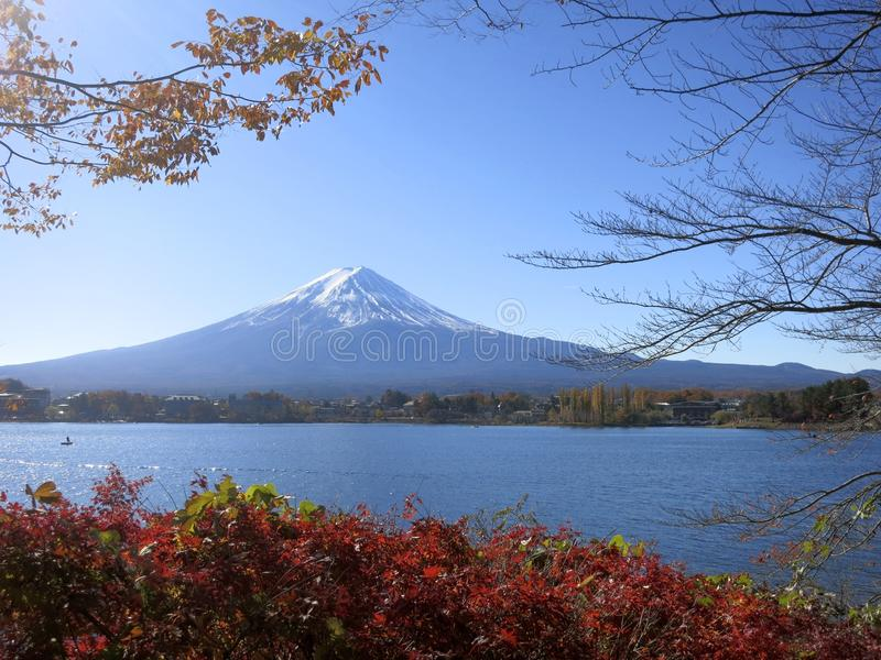 Download Mt. Fuji Viewed Between Fall Leaves And Tree Branches Stock Image - Image of japan, iconic: 35583669
