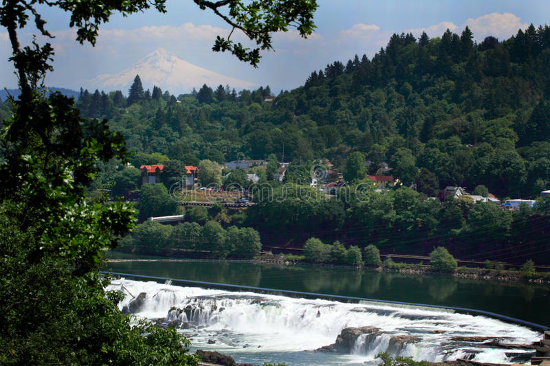Mt Hood Over Willamette Falls photos libres de droits