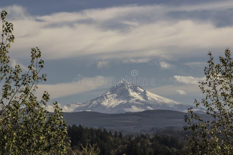 Mt. Hood snow cap stock photo
