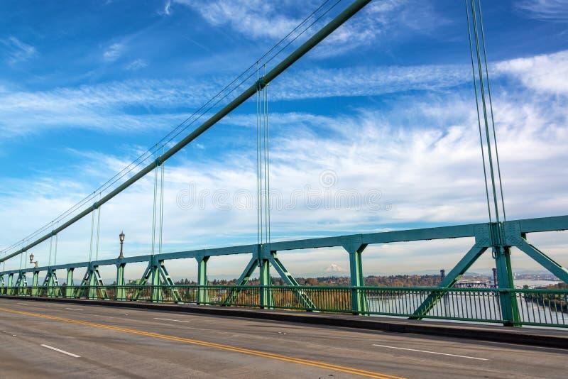 Mt. Hood and St. Johns Bridge stock photo