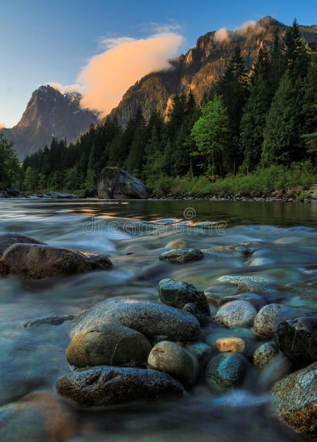 Mt. Index, Skykomish River, Washington State royalty free stock images