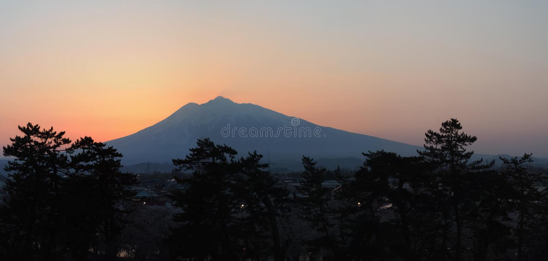 Download Mt Iwaki - Sunset stock image. Image of panaromic, sunset - 73987173