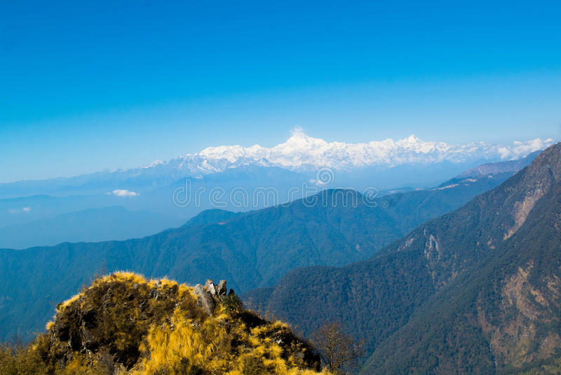Mt kanchenjunga stockfotografie