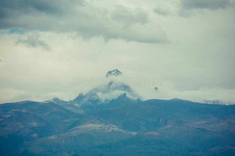 Mt. Kenya. Cloudy view of Mt. Kenya stock photo