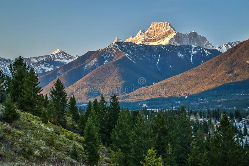 Mt. Laugheed view from Benchlands terrace viewpoint in Canmore, Canada. Springtime view of canadian rockies, the last snow in Canada royalty free stock photos