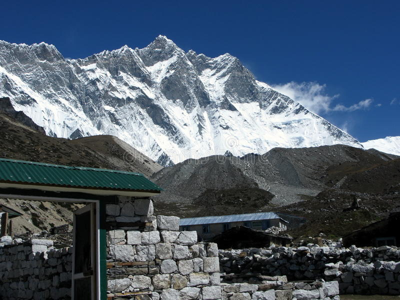 The guest house under Mount Lhotse stock image