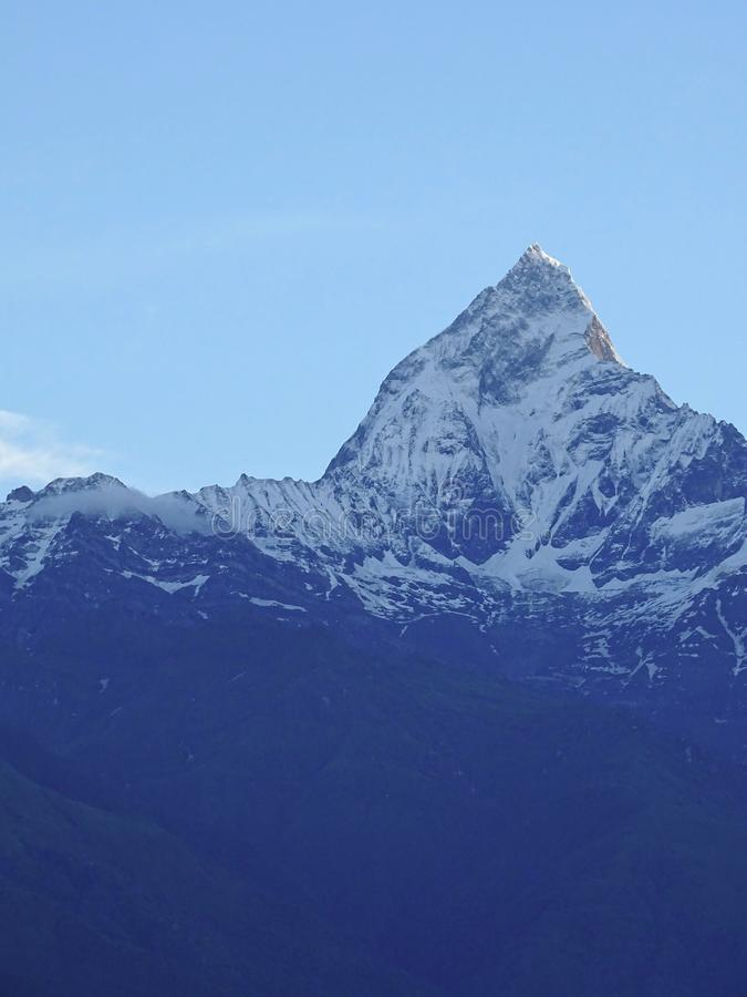 Mt. Machapuchare also know as Mt. Fishtail which forms a part of annapurna circuit royalty free stock images