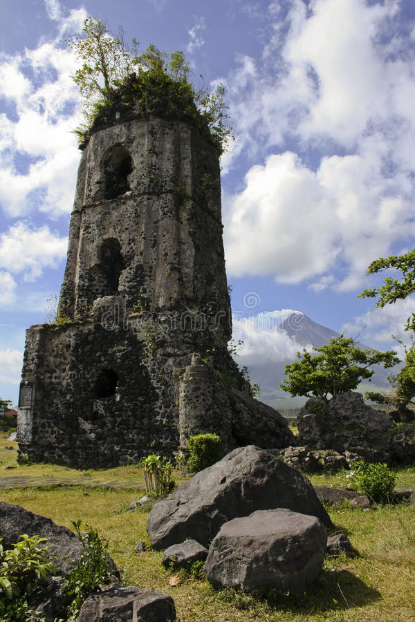 Mt mayon cagsawa church ruins philippines. Remains of a spanish colonial church destroyed by mayon volcano in albay province south luzon in the philippines royalty free stock photography