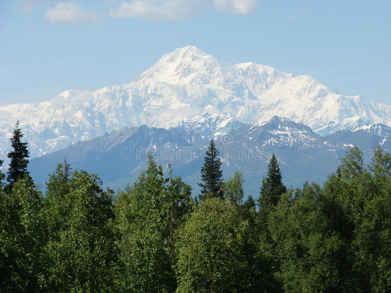 Mt. McKinley, Alaska on a clear day. View of Mt. McKinley, Denali National Park, Alaska on a clear day in June royalty free stock image