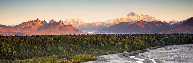 MT McKinley Alaska Noord-Amerika van de Denaliwaaier royalty-vrije stock foto's