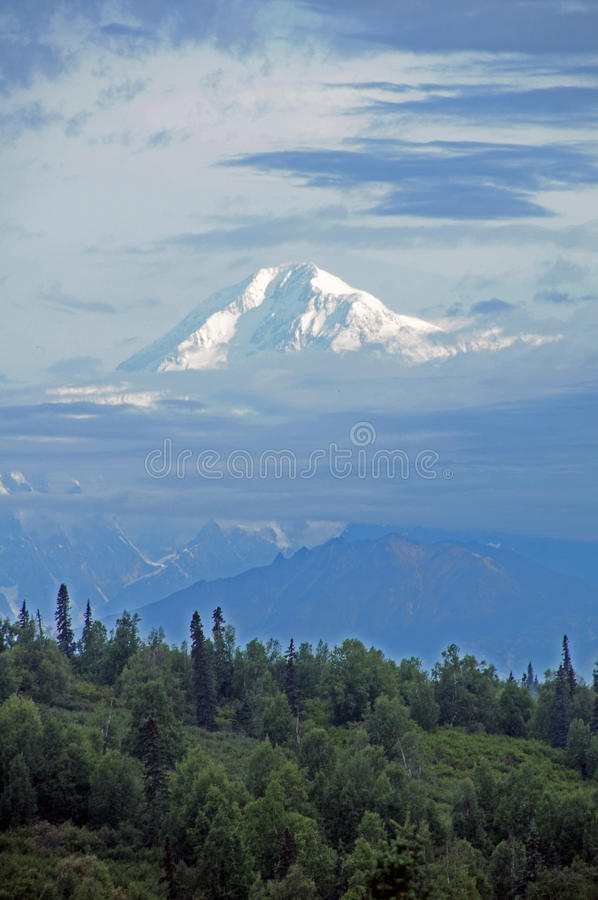 Mt. McKinley rises out of the early morning mist. Mt. McKinley, known as Denaii to native Alaskans, rises out of the clouds on a misty August 2015 morning. It is stock images