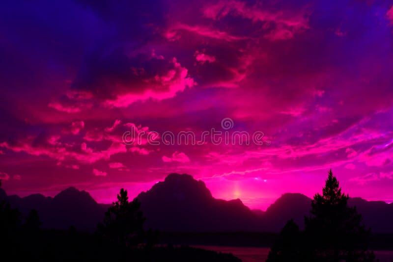 Mt Moran Sunset, großartiger Nationalpark Tetons, Wyoming, USA stockbilder