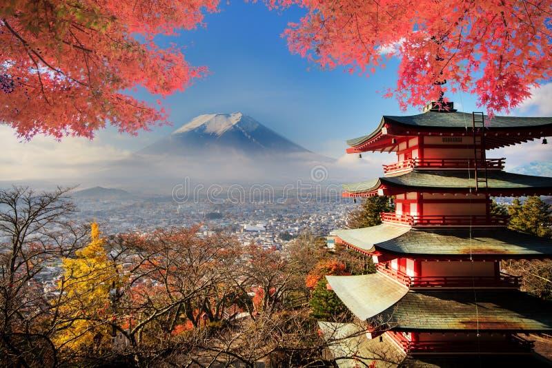 Mt Mount Fuji с цветами падения в Японии стоковое изображение