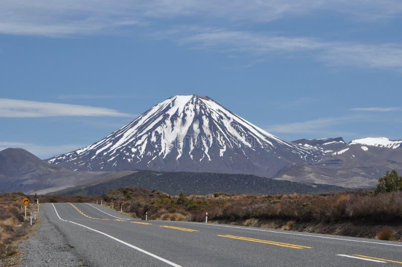 Mt Ngauruhoe da estrada foto de stock royalty free