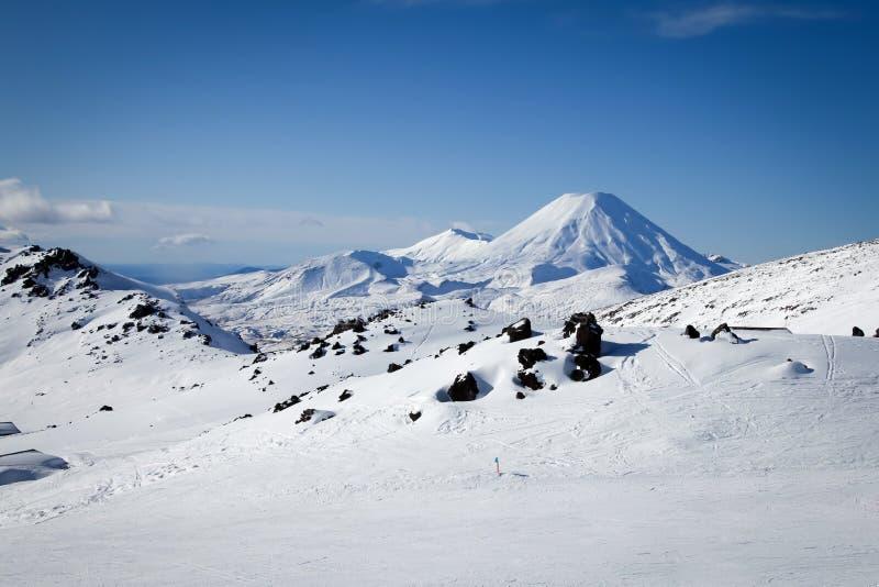Mt Ngauruhoe dal Mt Ruapehu Whakapapa Ski Field New Zealand fotografia stock