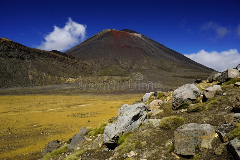 Mt. Ngauruhoe in New Zealand. Mount Ngauruhoe is active Vulcano and was used as a stand in for the fictional Mt. Doom in the Lord of the Rings film trilogy stock photo