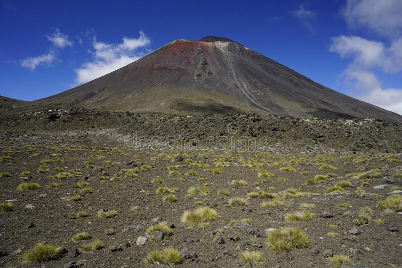 Mt. Ngauruhoe in New Zealand. Mount Ngauruhoe is active Vulcano and was used as a stand in for the fictional Mt. Doom in the Lord of the Rings film trilogy royalty free stock image