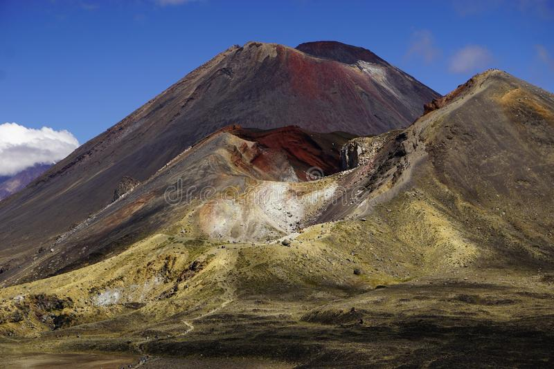 Mt. Ngauruhoe in New Zealand. Mount Ngauruhoe is active Vulcano and was used as a stand in for the fictional Mt. Doom in the Lord of the Rings film trilogy royalty free stock images