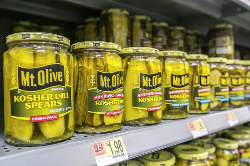 Mt. Olive kosher dill sliced pickles royalty free stock photography
