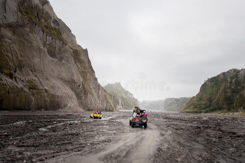 Mt. Pinatubo adventure. Exploring Mt. Pinatubo. An hour of 4x4 ride through Capas, Tarlac route and 1.5 hour walk to the summit. Circa 2015 royalty free stock photography