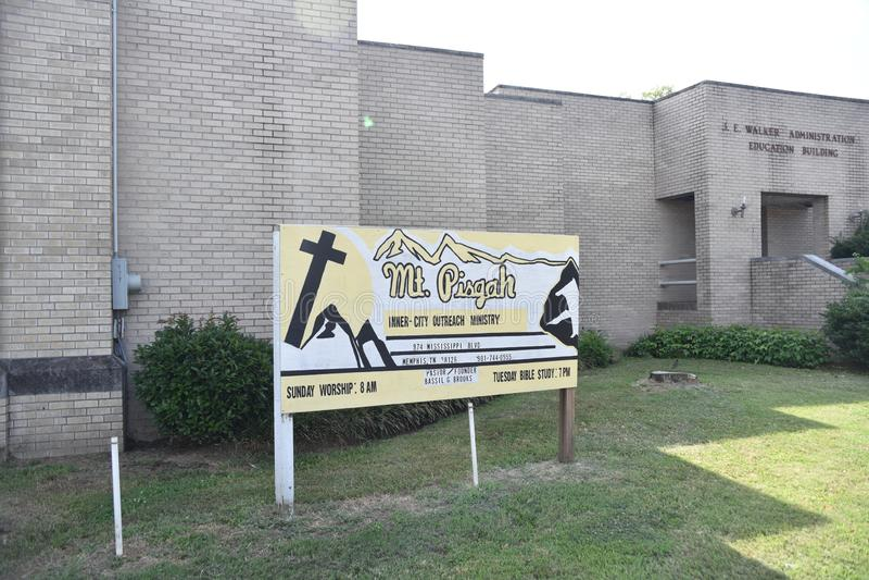 Mt Pisgah Baptist Church Sign, Memphis, Tennessee fotografia de stock royalty free