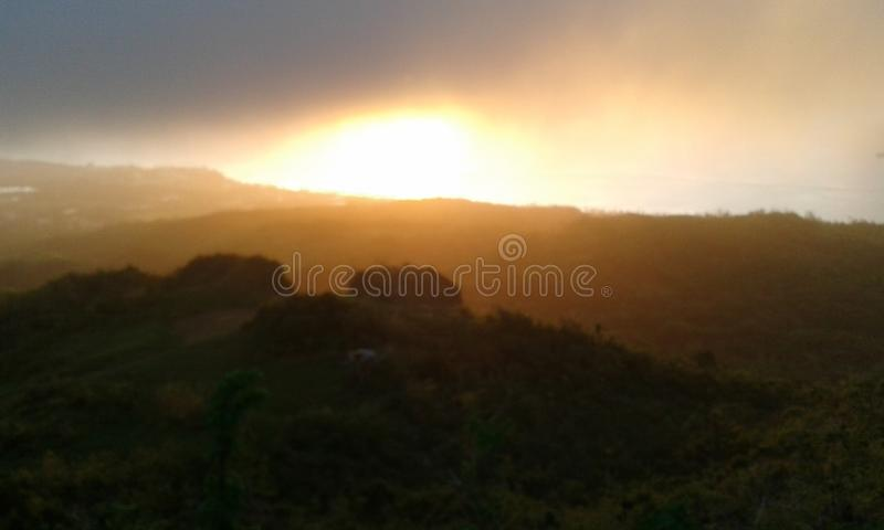 Mt Por do sol de Tapochau imagem de stock