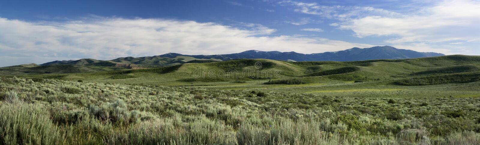 Mt Putnam. Panoramic view of Mt. Putnam on the Fort Hall Indian Reservation stock photo