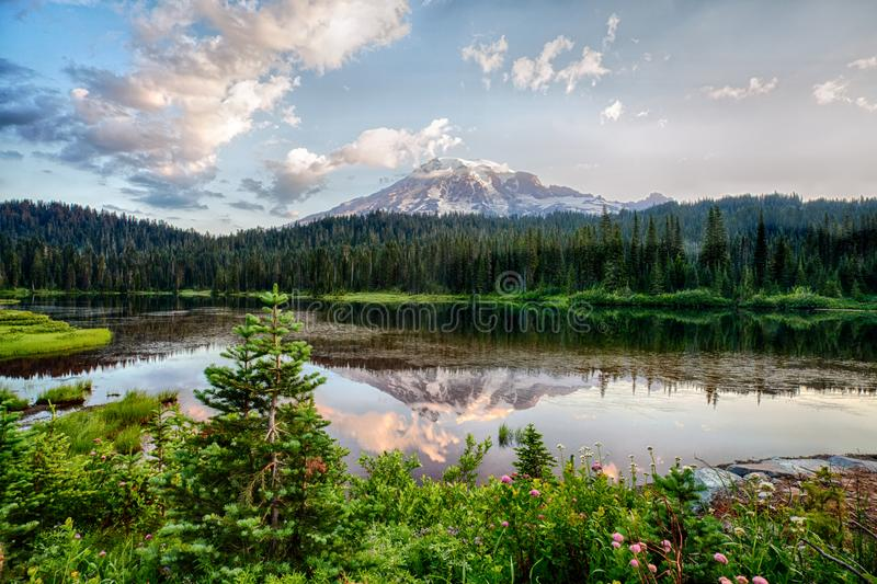Mt Rainier and Reflection Lake at sunrise stock photos