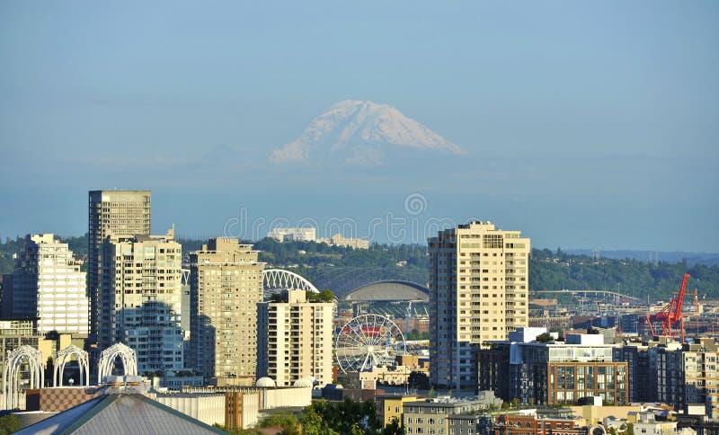 Mt Rainier and Seattle stock photo